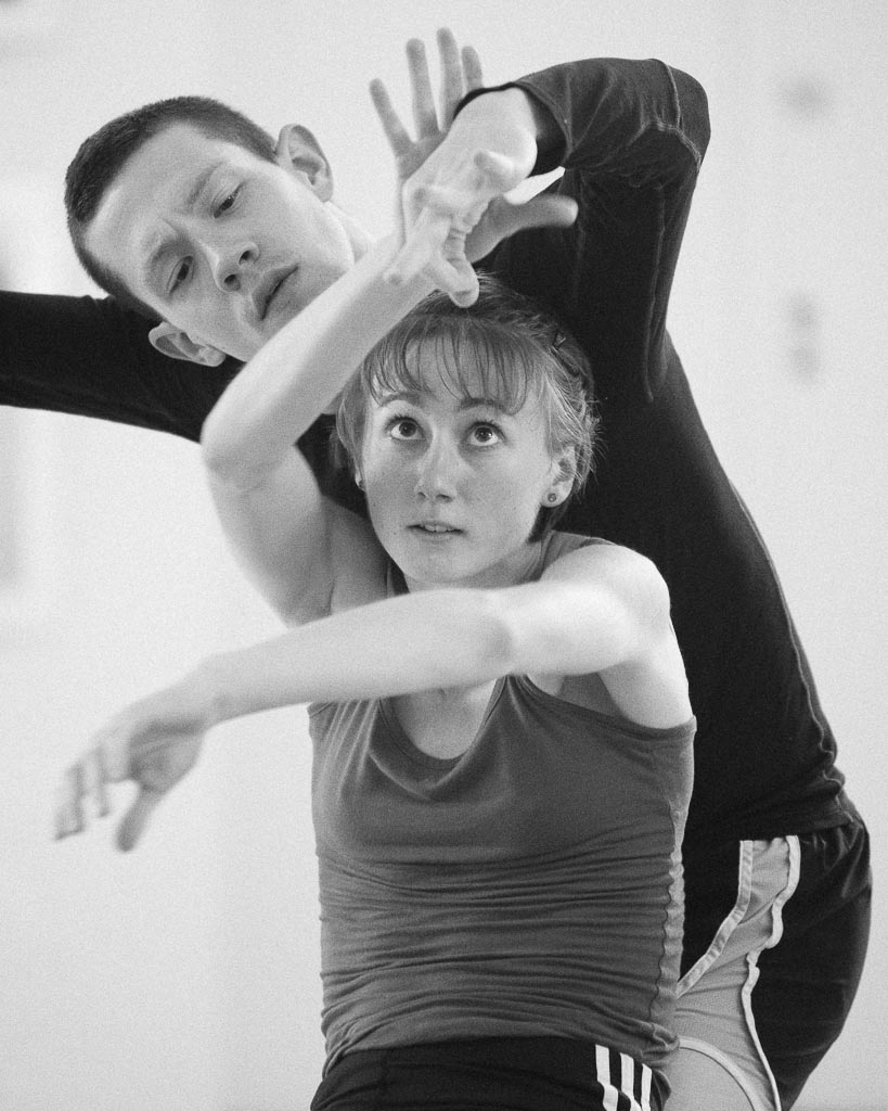 Vilte Bacinskaite and Patrick Kilbane parter during rehearsal of Loni Landon's 'Covered' with Northwest Dance Project