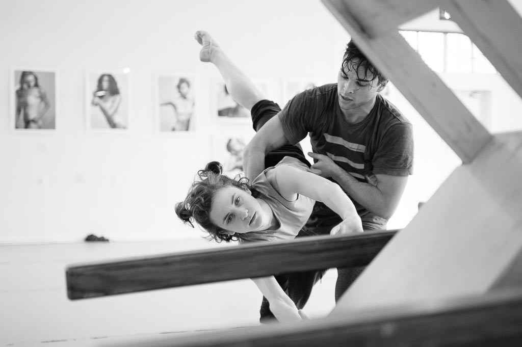 Viktor Usov and Andrea Parson partner during rehearsal for Sarah Slipper's 'A Fine Balance' at Northwest Dance Project